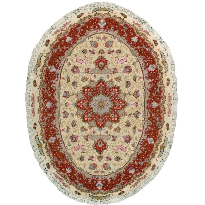 "https://www.armanrugs.com/ | 4' 10"" x 6' 6"" Beige Tabriz Hand Knotted Wool & Silk Authentic Persian Rug"