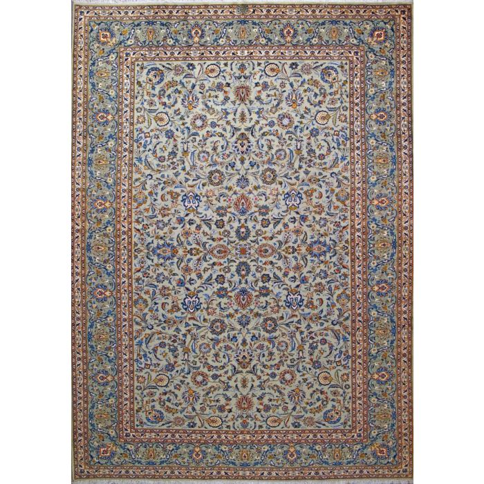 "https://www.armanrugs.com/ | 9' 2"" x 12' 8"" Green Kashan Hand Knotted Wool Authentic Persian Rug"