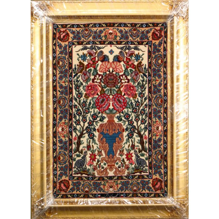 """https://www.armanrugs.com/   2' 4"""" x 3' 4"""" Beige Esfahan Hand Knotted Wool & Silk Authentic Persian Rug"""