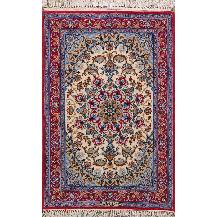 "https://www.armanrugs.com/ | 2' 4"" x 2' 11"" Navy Blue Esfahan Hand Knotted Wool & Silk Authentic Persian Rug"