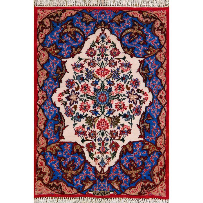 """https://www.armanrugs.com/   2' 4"""" x 3' 4"""" Ivory Esfahan Hand Knotted Wool & Silk Authentic Persian Rug"""
