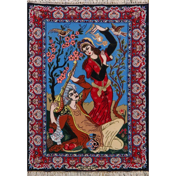 """https://www.armanrugs.com/   2' 4"""" x 3' 1"""" Beige Esfahan Hand Knotted Wool & Silk Authentic Persian Rug"""