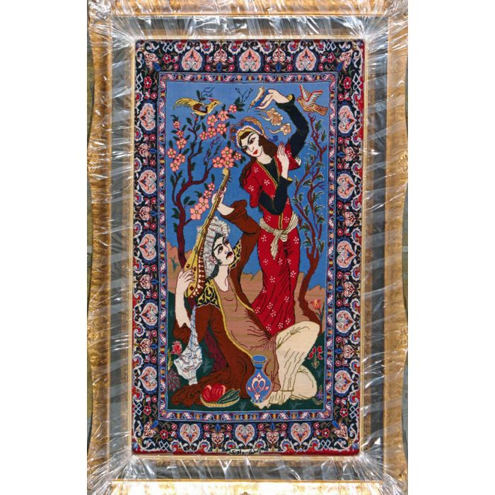 "https://www.armanrugs.com/ | 2' 4"" x 4' 2"" Blue Esfahan Hand Knotted Wool & Silk Authentic Persian Rug"