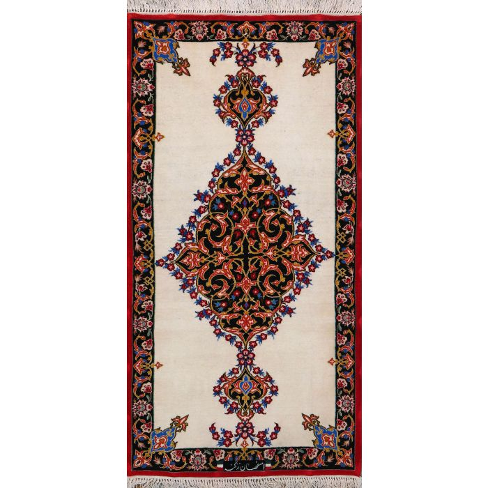 """https://www.armanrugs.com/   2' x 3' 11"""" Beige Esfahan Hand Knotted Wool & Silk Authentic Persian Rug"""