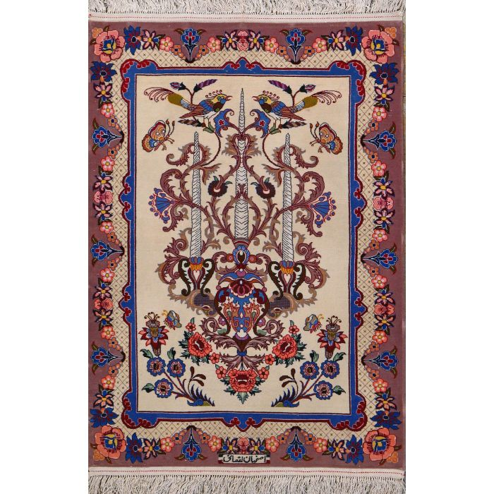 "https://www.armanrugs.com/ | 2' 4"" x 3' 4"" Beige Esfahan Hand Knotted Wool & Silk Authentic Persian Rug"