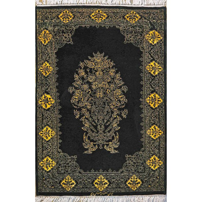 "https://www.armanrugs.com/ | 2' 7"" x 3' 11"" Black Esfahan Hand Knotted Wool & Silk Authentic Persian Rug"