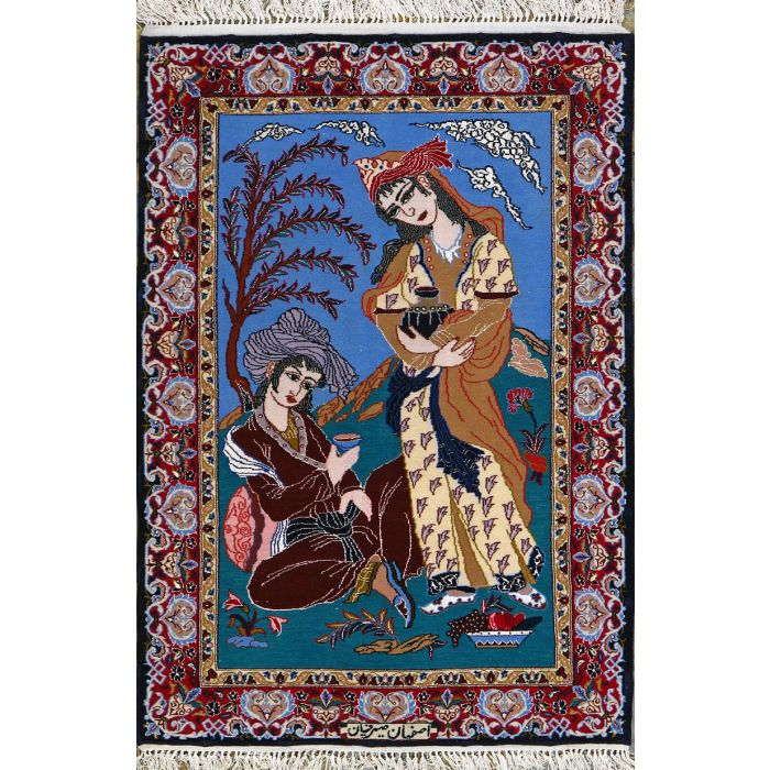 "https://www.armanrugs.com/ | 2' 4"" x 3' 5"" Blue Esfahan Hand Knotted Wool & Silk Authentic Persian Rug"
