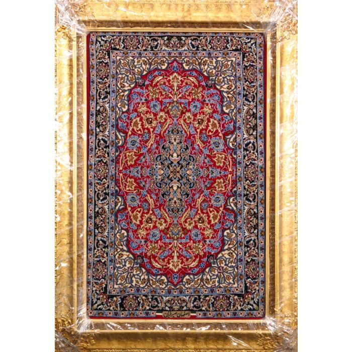 "https://www.armanrugs.com/ | 2' 4"" x 3' 7"" Red Esfahan Hand Knotted Wool & Silk Authentic Persian Rug"