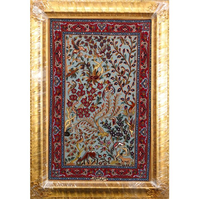 """https://www.armanrugs.com/   2' 4"""" x 3' 7"""" Blue Esfahan Hand Knotted Wool & Silk Authentic Persian Rug"""