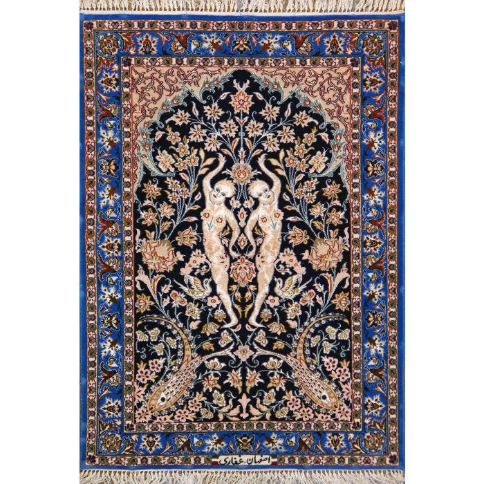 "https://www.armanrugs.com/ | 2' 4"" X 3' 5"" Black Esfahan Hand Knotted Wool & Silk Authentic Persian Rug"