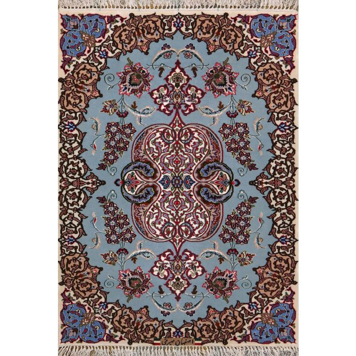 """https://www.armanrugs.com/   2' 5"""" X 3' 5"""" Blue Esfahan Hand Knotted Wool & Silk Authentic Persian Rug"""