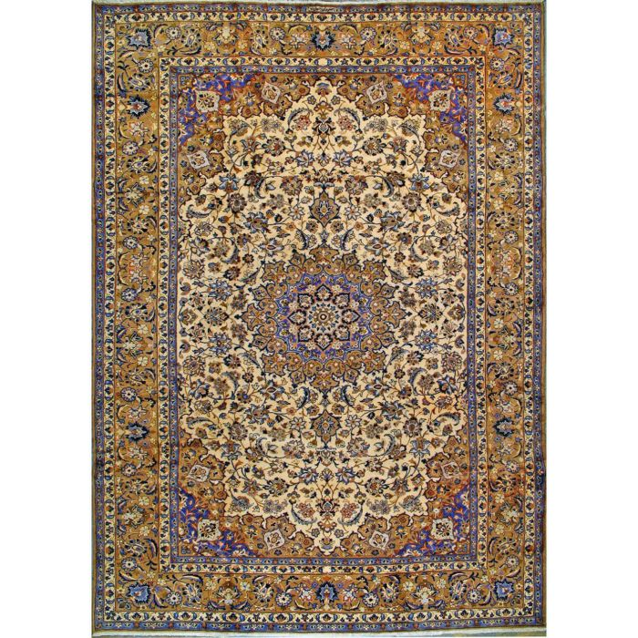 """https://www.armanrugs.com/   9' 2"""" x 13' 5"""" Beige Esfahan Hand Knotted Wool Authentic Persian Rug"""