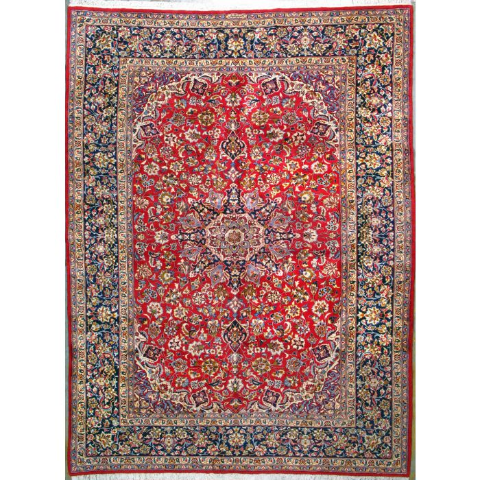 "https://www.armanrugs.com/ | 9' 10"" x 13' 1"" Red Esfahan Hand Knotted Wool Authentic Persian Rug"
