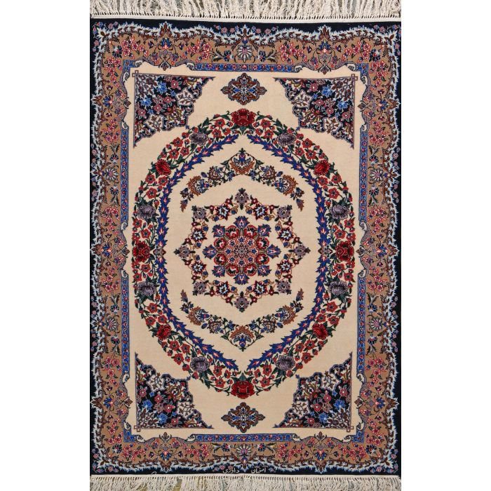 "https://www.armanrugs.com/ | 3' 7"" x 5' 3"" Beige Esfahan Hand Knotted Wool & Silk Authentic Persian Rug"