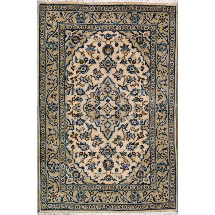"https://www.armanrugs.com/ | 3' 3"" x 4' 11"" Beige Kashan Hand Knotted Wool Authentic Persian Rug"