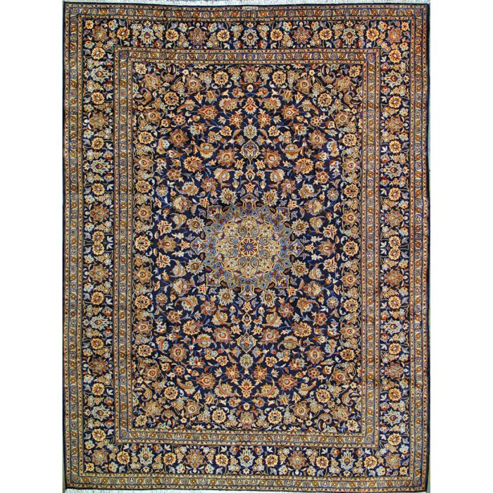 "https://www.armanrugs.com/ | 9' 6"" x 12' 6"" Navy Blue Kashan Hand Knotted Wool Authentic Persian Rug"