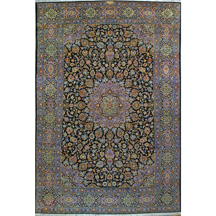 """https://www.armanrugs.com/   9' 2"""" x 13' 7"""" Navy Blue Kashan Hand Knotted Wool & Silk Authentic Persian Rug"""