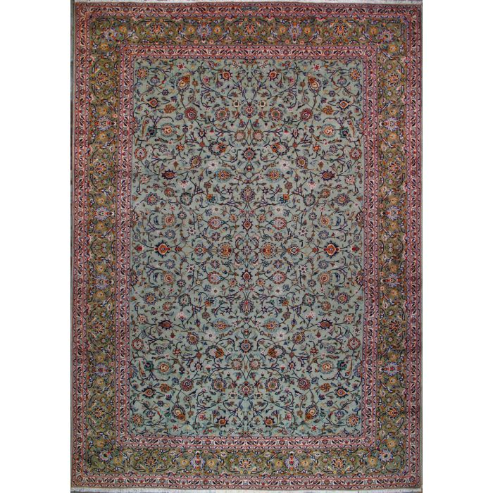 "https://www.armanrugs.com/ | 9' 10"" x 13' 8"" Green Kashan Hand Knotted Wool Authentic Persian Rug"