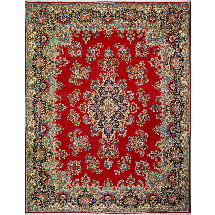 "https://www.armanrugs.com/ | 9' 8"" x 12' 8"" Red kerman Hand Knotted Wool Authentic Persian Rug"