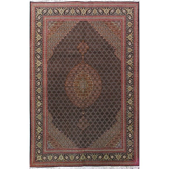 """https://www.armanrugs.com/   6' 7"""" x 10' 3"""" Brown Tabriz Hand Knotted Wool Authentic Persian Rug"""