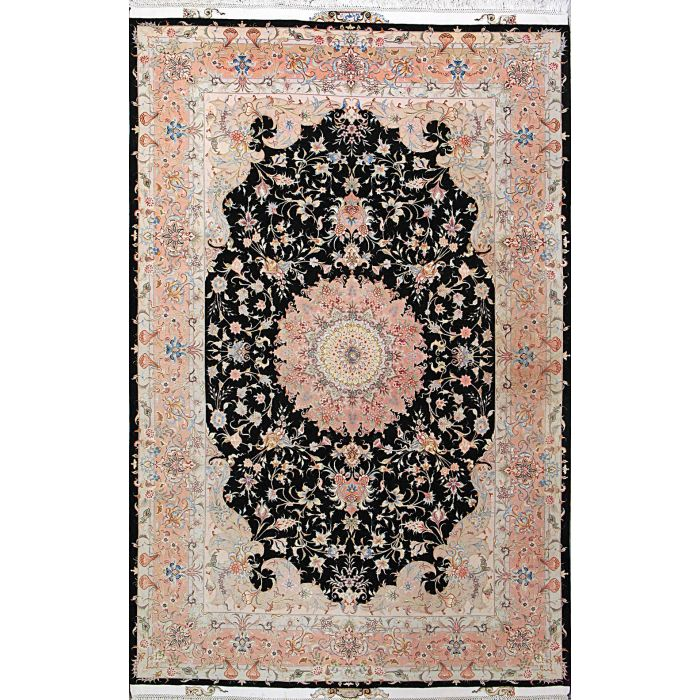 "https://www.armanrugs.com/ | 6' 7"" x 10' 3"" Black Tabriz Hand Knotted Wool & Silk Authentic Persian Rug"