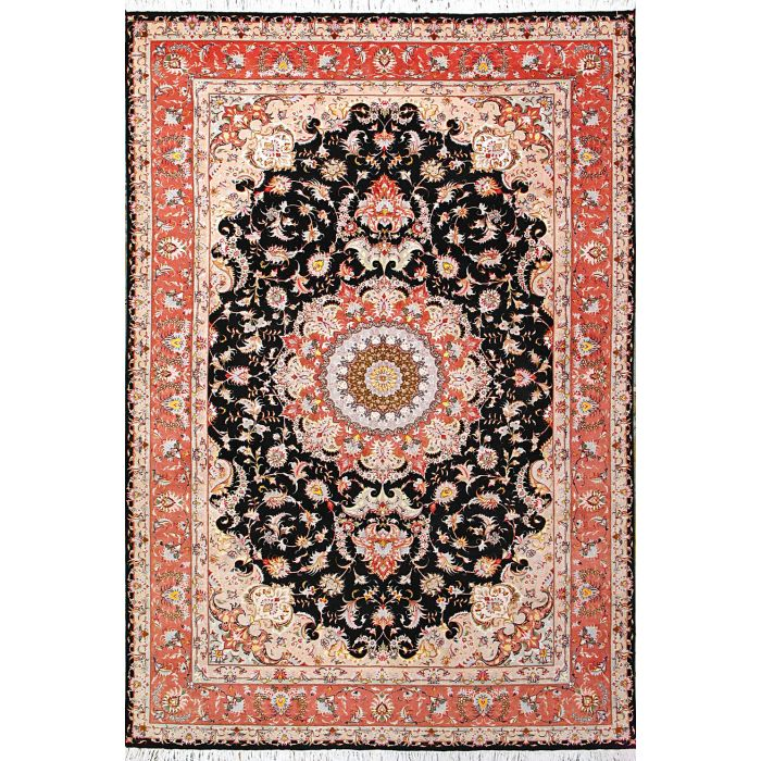 "https://www.armanrugs.com/ | 6' 9"" x 9' 10"" Black Tabriz Hand Knotted Wool & Silk Authentic Persian Rug"