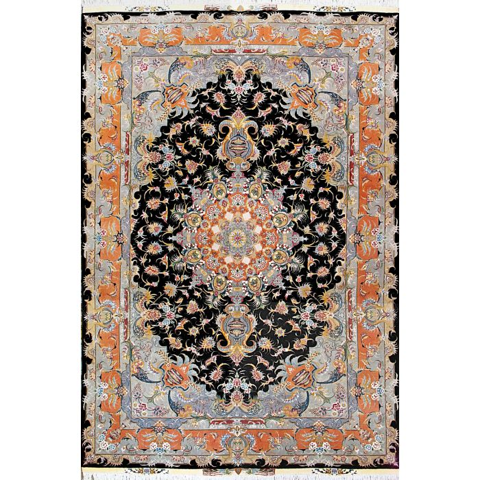 "https://www.armanrugs.com/ | 6' 9"" x 10' 0"" Black Tabriz Hand Knotted Wool & Silk Authentic Persian Rug"