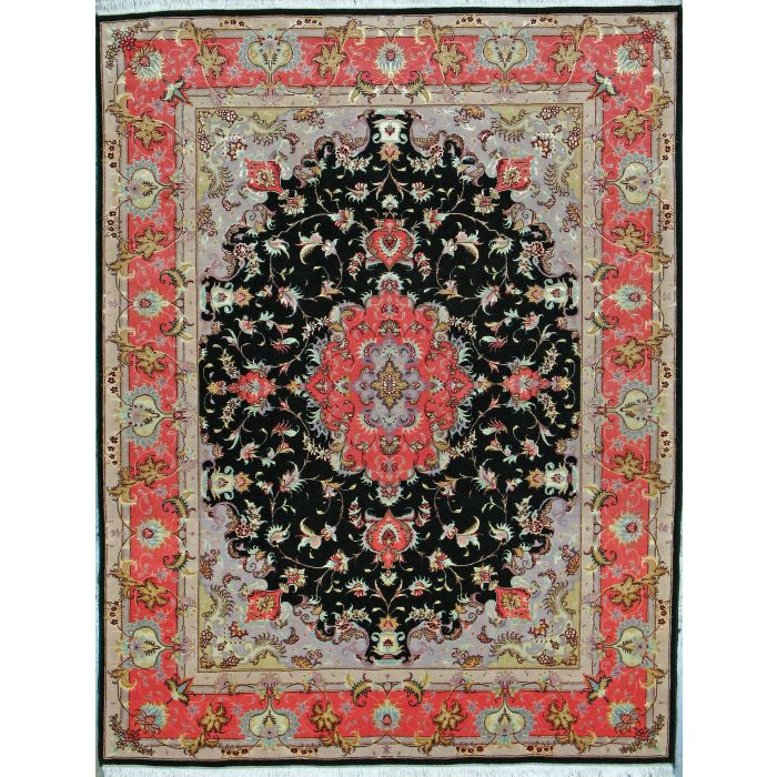 "https://www.armanrugs.com/   4' 10"" x 6' 9"" Black Tabriz Hand Knotted Wool & Silk Authentic Persian Rug"