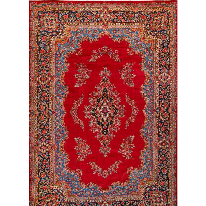 """https://www.armanrugs.com/   13' 1"""" x 19' 5"""" Red kerman Hand Knotted Wool Authentic Persian Rug"""