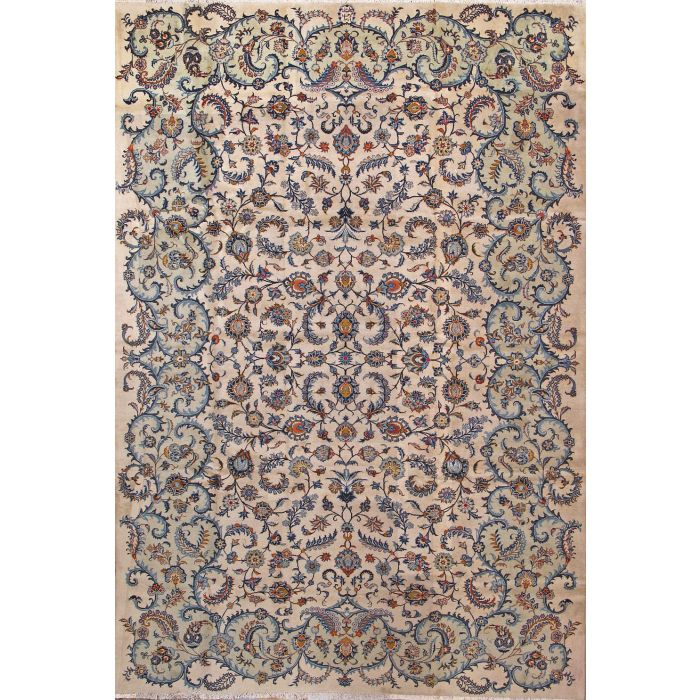 "https://www.armanrugs.com/ | 7' 6"" x 11' 4"" Beige Kashan Hand Knotted Wool Authentic Persian Rug"