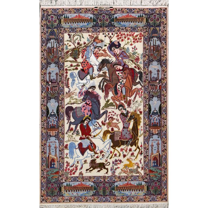 "https://www.armanrugs.com/ | 3' 7"" X 5' 7"" Beige Esfahan Hand Knotted Wool & Silk Authentic Persian Rug"