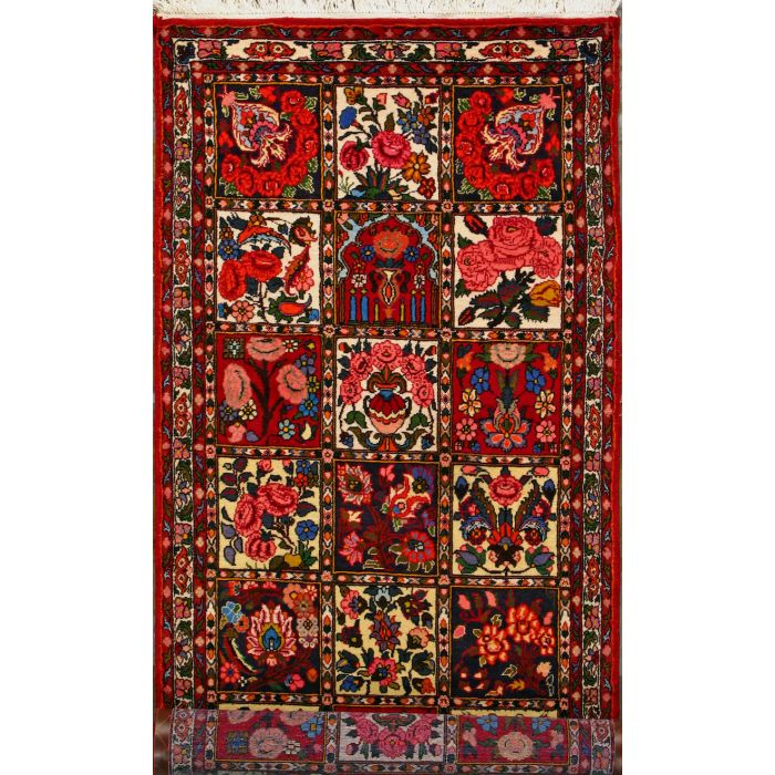 """https://www.armanrugs.com/   3' 5"""" x 9' 10"""" Red Bakhtiari Hand Knotted Wool Authentic Runner Persian Rug"""