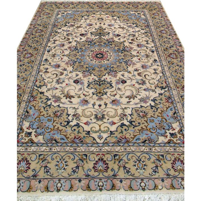 """https://www.armanrugs.com/   6' 7"""" x 9' 8"""" Beige Tabriz Hand Knotted Wool Authentic Persian Rug"""