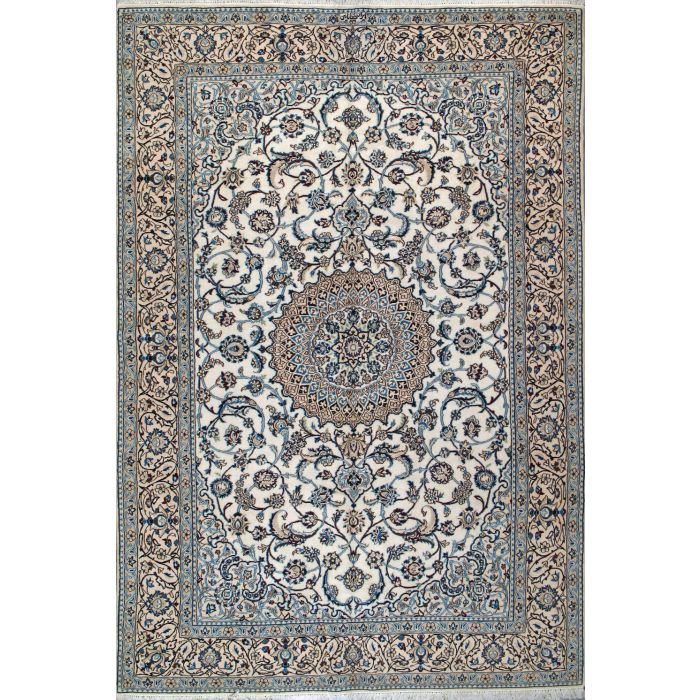 "https://www.armanrugs.com/ | 6' 7"" x 9' 10"" Ivory Nain Hand Knotted Wool & Silk Authentic Persian Rug"