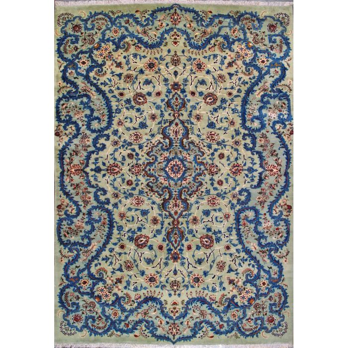 "https://www.armanrugs.com/ | 8' 2"" x 12' 0"" Green Kashan Hand Knotted Wool Authentic Persian Rug"