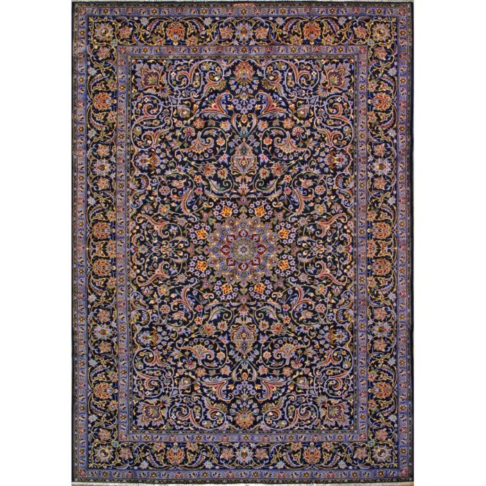 "https://www.armanrugs.com/ | 8' 2"" x 11' 8"" Navy Blue Kashan Hand Knotted Wool Authentic Persian Rug"