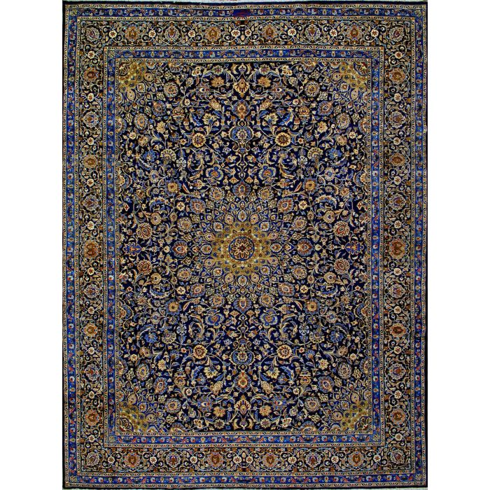 "https://www.armanrugs.com/ | 9' 10"" x 13' 1"" Navy Blue kashmar Hand Knotted Wool Authentic Persian Rug"