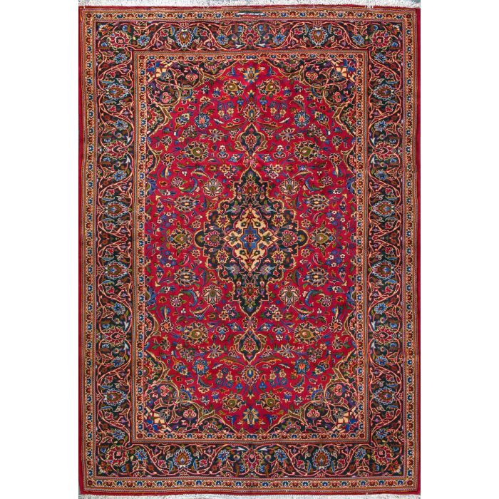 """https://www.armanrugs.com/   6' 11"""" x 10' 1"""" Red Kashan Hand Knotted Wool Authentic Persian Rug"""