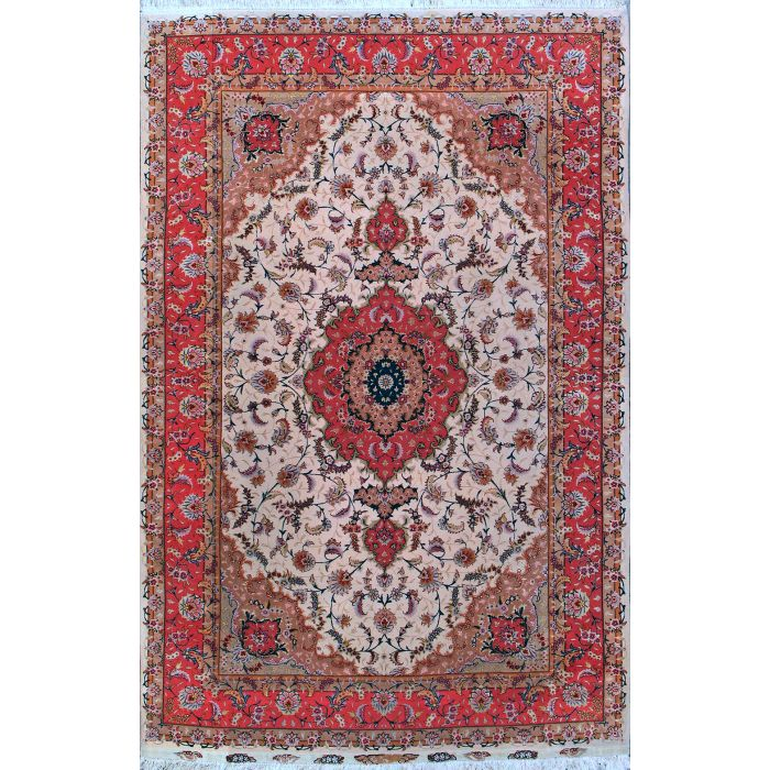 "https://www.armanrugs.com/ | 6' 7"" x 10' 0"" Beige Tabriz Hand Knotted Wool & Silk Authentic Persian Rug"