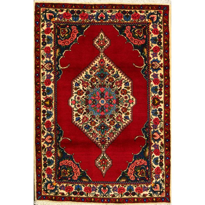 """https://www.armanrugs.com/   3' 7"""" x 5' 1"""" Red Bakhtiari Hand Knotted Wool Authentic Persian Rug"""
