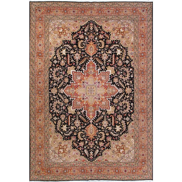 "https://www.armanrugs.com/ | 6' 11"" x 9' 10"" Navy Blue Tabriz Hand Knotted Wool & Silk Authentic Persian Rug"
