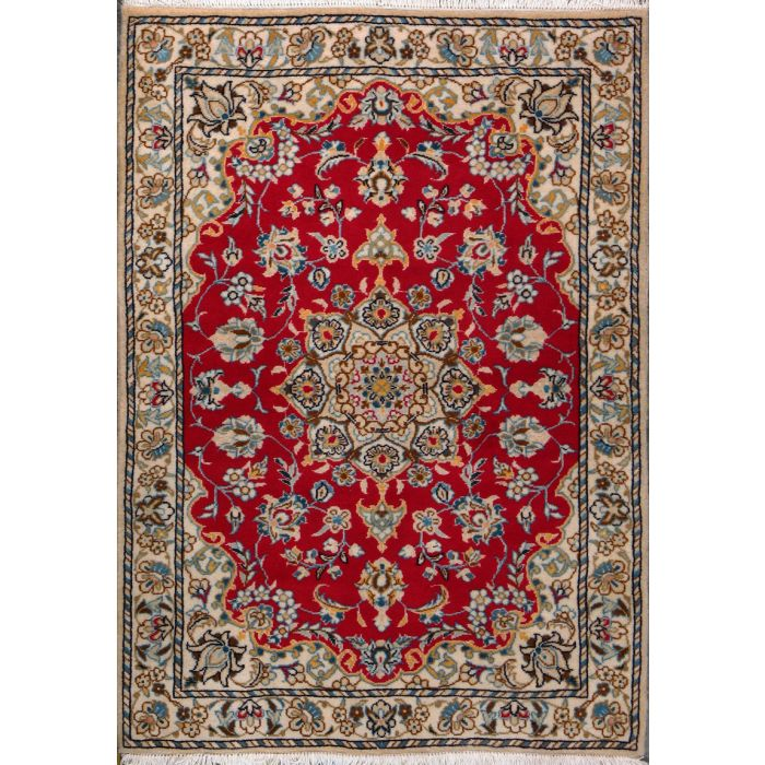 """https://www.armanrugs.com/   3' 5"""" x 4' 10"""" Red Nain Hand Knotted Wool & Silk Authentic Persian Rug"""