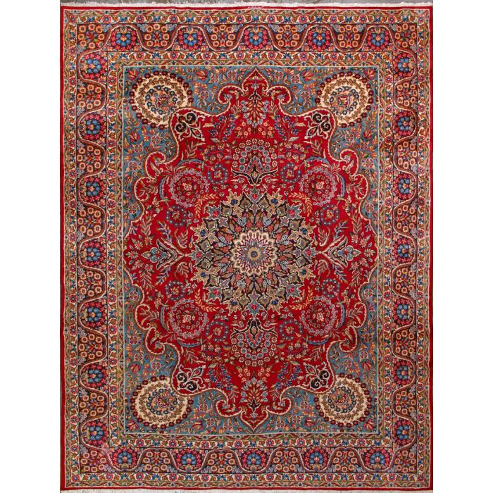 """https://www.armanrugs.com/   9' 7"""" x 13' 0"""" Red kerman Hand Knotted Wool Authentic Persian Rug"""