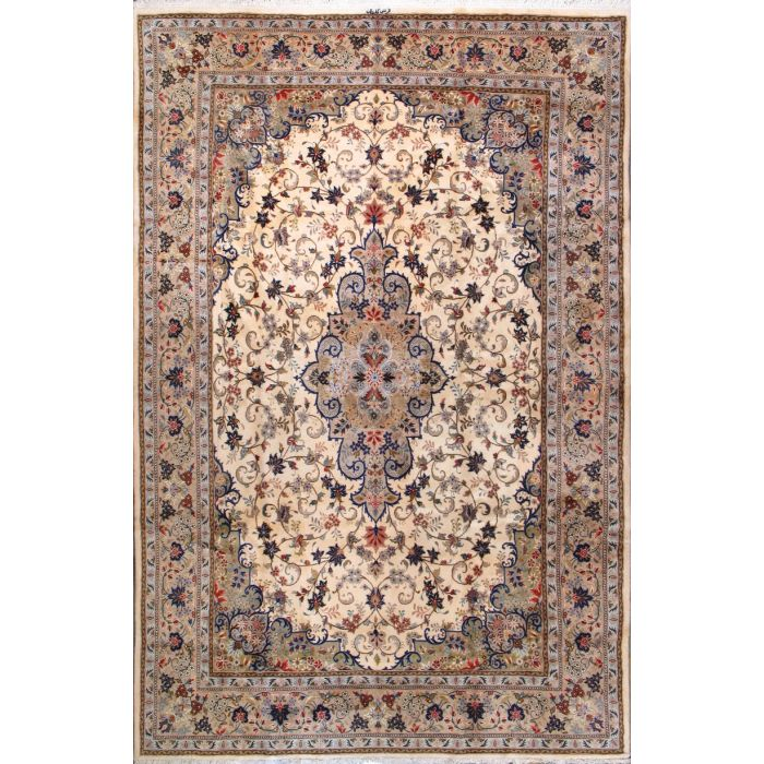 "https://www.armanrugs.com/ | 8' 0"" x 12' 4"" Beige Tabriz Hand Knotted Wool Authentic Persian Rug"