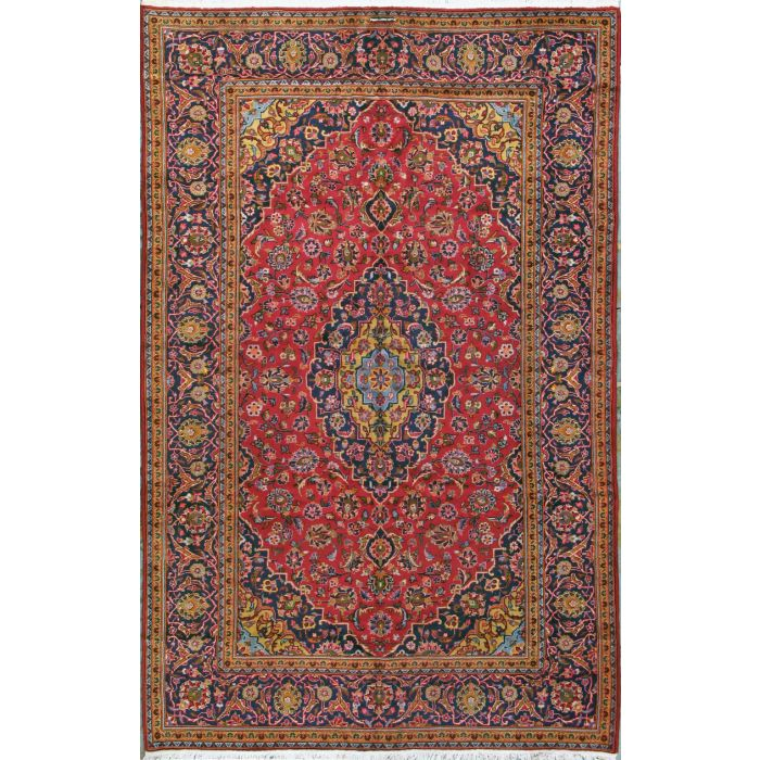 "https://www.armanrugs.com/ | 6' 6"" x 10' 4"" Red Kashan Hand Knotted Wool Authentic Persian Rug"