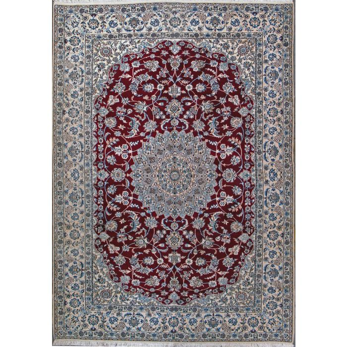 "https://www.armanrugs.com/ | 6' 11"" x 10' 0"" Red Nain Hand Knotted Wool & Silk Authentic Persian Rug"