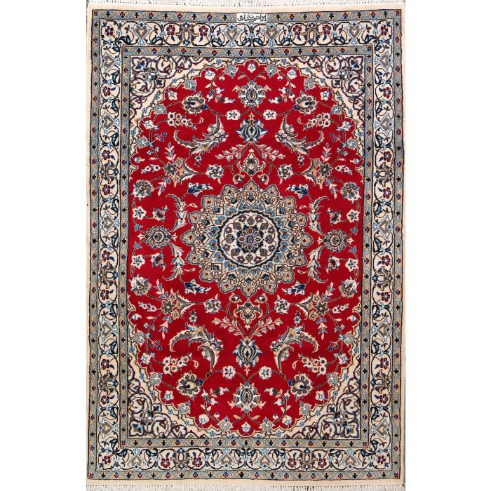 """https://www.armanrugs.com/   3' 9"""" x 5' 9"""" Red Nain Hand Knotted Wool & Silk Authentic Persian Rug"""