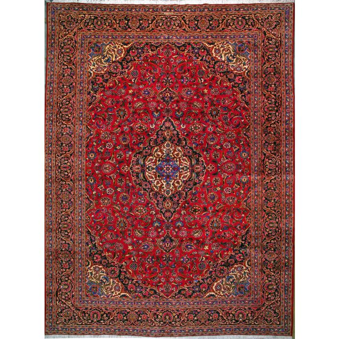 """https://www.armanrugs.com/   11' 4"""" x 15' 11"""" Red Kashan Hand Knotted Wool Authentic Persian Rug"""