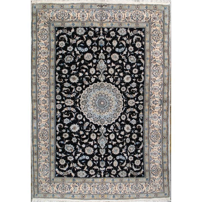 """https://www.armanrugs.com/   6' 7"""" x 9' 6"""" Blue Nain Hand Knotted Wool & Silk Authentic Persian Rug"""