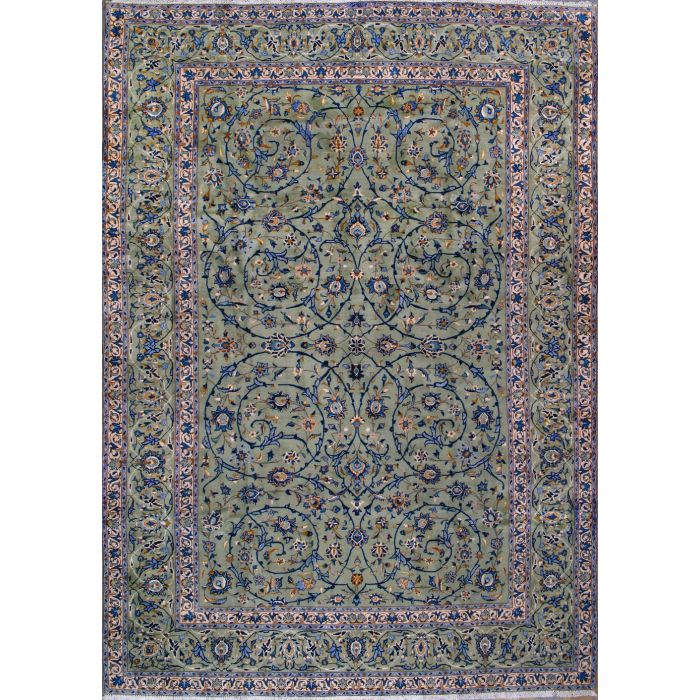 "https://www.armanrugs.com/ | 8' 4"" x 12' 2"" Green Kashan Hand Knotted Wool Authentic Persian Rug"